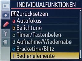 Individualfunktion - f: Bedienelemente auswählen