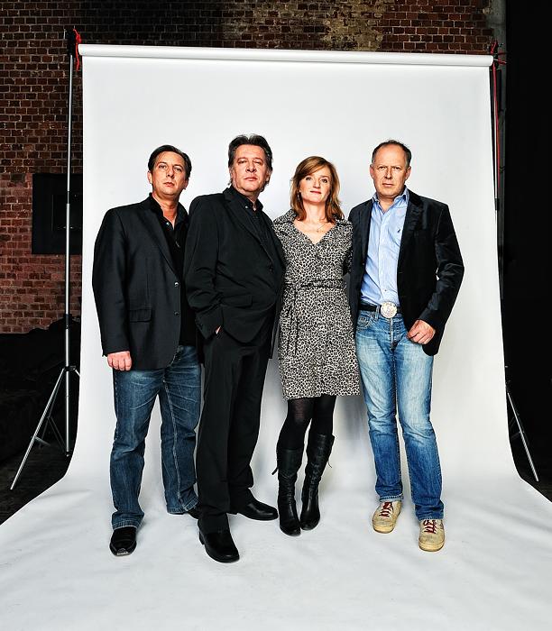 """Rock'n'Roll-Band aus dem Film """"2 für alle Fälle"""": Frank Jacobsen, Jan Fedder, Nina Petri und Axel Milberg"""