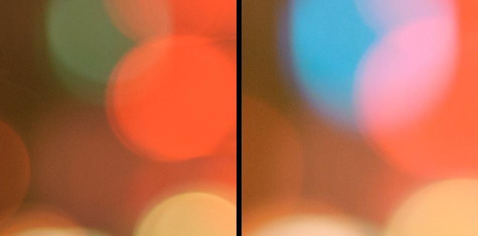 100% Ausschnitt von den Bildern mit Gunther: Vergleich vom Bokeh. Das f/1.4er rechts zeigt deutlich weichere Kreise