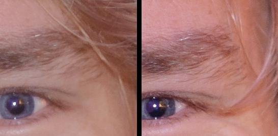100% Ausschnitt von den Bildern mit Gunther: Links das f/1.8er zeichnet deutlich weicher und ist auch nicht so kontrastreich wie das f/1.4er rechts. Die Schärfe finde ich bei beiden Objektiven gleich gut.