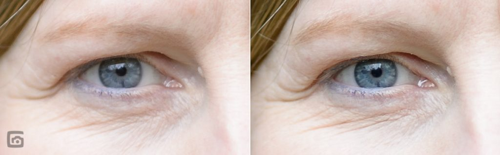 100% Ausschnitte von den letzten beiden Bildern: links 85mm Nikonlinse - rechts 100mm Zeisslinse