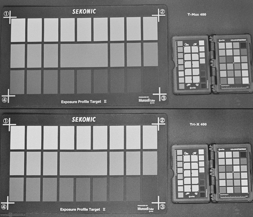 Oben T-Max, unten Tri-X: der Blick auf die Farbtafel rechts zeigt, dass der T-Max Farben feiner nuanciert wiedergibt. Das könnte durch Verwendung von Farbfilter beim Fotografieren ausgeglichen werden.